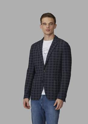 Giorgio Armani Regular-Fit Macro Houndstooth Fabric Deconstructed Jacket