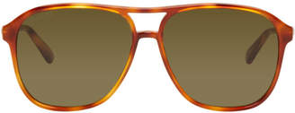 Gucci Tortoiseshell Retro Aviator Sunglasses