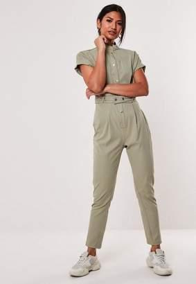 Missguided Khaki Utility Pocket Belted Jumpsuit, Khaki