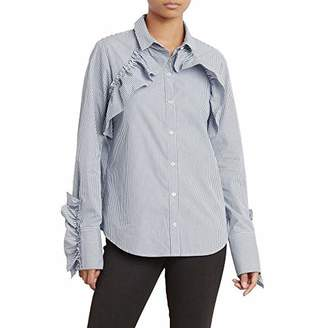 Kenneth Cole Women's Ruffle Detail Poplin Shirt