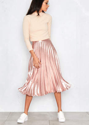 Missy Empire Missyempire Kati Pink Pleated Midi Skirt