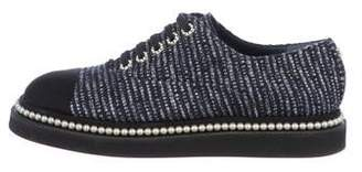 Chanel Tweed Faux-Pearl Oxfords