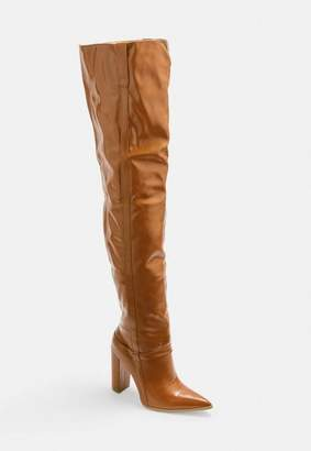 Missguided Tan Block Heel Faux Leather Thigh High Boots