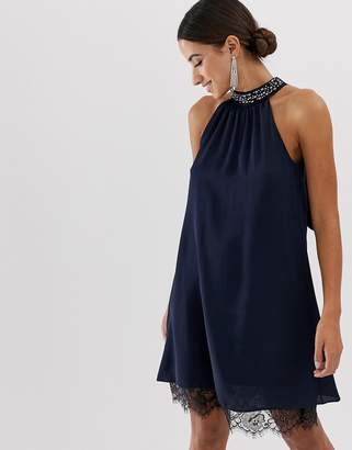 Lipsy halterneck dress with embellished detail and lace trim