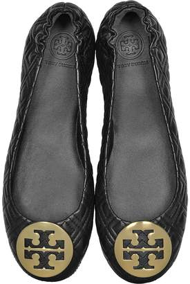 Tory Burch Perfect Black Quilted Nappa Leather Minnie Ballerinas