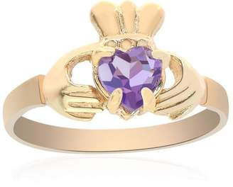 10K Yellow Gold 0.75 Ct Amethyst Irish Claddagh Ring Size 6.5