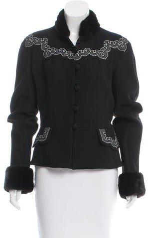 Christian Dior Christian Dior Mink-Trimmed Wool Jacket
