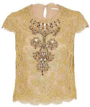 Reem Acra Embellished Metallic Cotton-Blend Corded Top