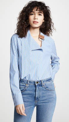 Tibi Asymmetric Tie Collar Shirt