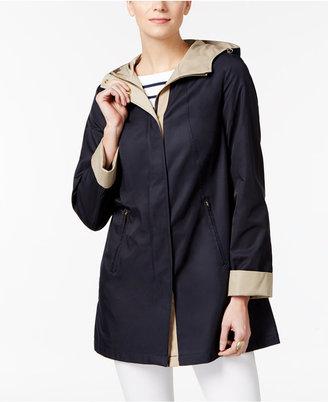 Jones New York Two-Tone Hooded Raincoat $150 thestylecure.com