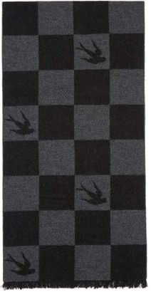 McQ Black Checkerboard Swallows Poncho