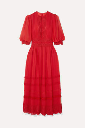 Costarellos - Crocheted Lace-trimmed Silk Crepe De Chine Maxi Dress - Red