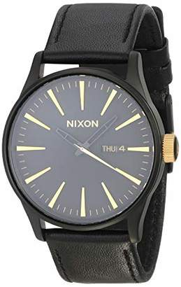 Nixon Sentry Leather A109 - Matte Black/Gold - 104M Water Resistant Men's Analog Classic Watch (42mm Watch Face