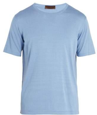 Altea Crew Neck Silk And Cotton Blend T Shirt - Mens - Light Blue