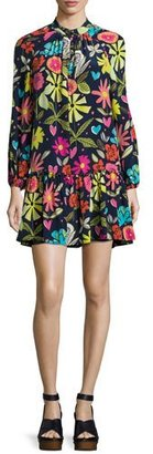 Trina Turk Corozone Long-Sleeve Floral Silk Shift Dress, Blue $328 thestylecure.com