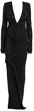 Alexandre Vauthier Women's Long Sleeve Stretch Jersey Embroidered Gown