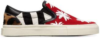 Amiri multicoloured palm print calf hair and canvas sneakers