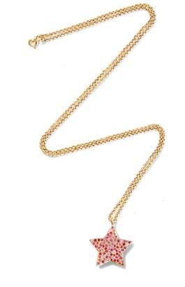Shebee Gem Sapphire Star Long Pendant Necklace