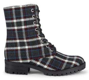 Plaid Lace-Up Booties