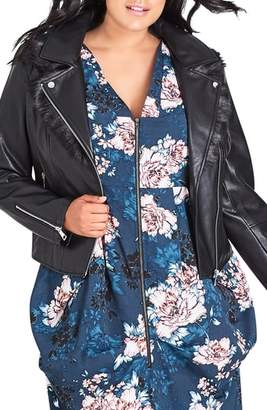 City Chic Faux Leather Jacket with Faux Fur Collar Trim