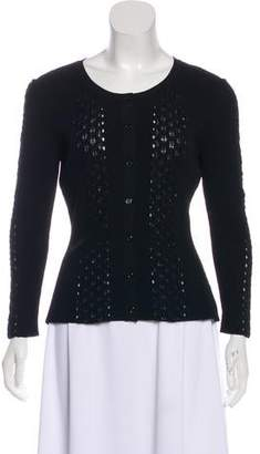 Fendi Rib Knit Paneled Cardigan
