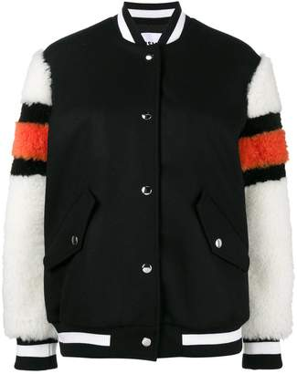 MSGM bomber jacket with shearling sleeves