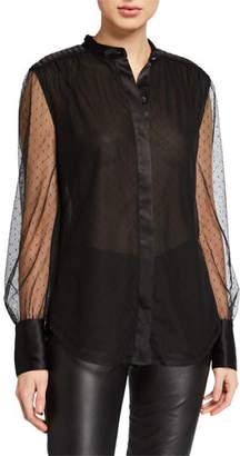 Equipment Garion Button-Down Sheer Sleeve Top