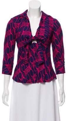 Diane von Furstenberg Long Sleeve Printed Top