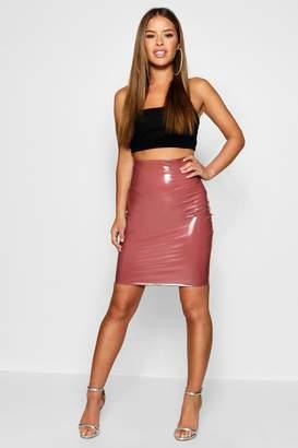 boohoo Petite Katie Extreme High Waisted Vinyl Skirt
