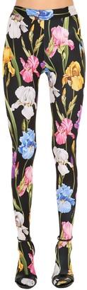 Dolce & Gabbana Floral Printed Jersey Sock Leggings