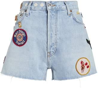 RE/DONE Embellished Cut-Off Denim Shorts