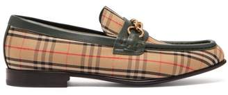 Burberry Moorely Dalston Vintage Check Canvas Loafers - Mens - Green