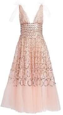 Oscar de la Renta Sequin Loop Embroidered Tulle Tea-Length Gown