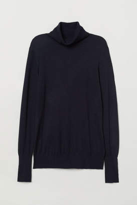 H&M Fine-knit Turtleneck Sweater - Blue