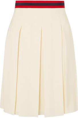 Gucci Grosgrain-trimmed Pleated Washed-silk Skirt - Ecru