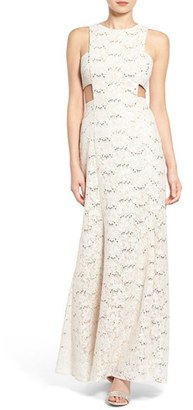 Women's Morgan & Co. Side Cutout Lace Gown $98 thestylecure.com