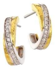 Gurhan Duet Two-Tone 18K& 24K Gold Diamond Pave Hoop Earrings
