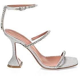 Amina Muaddi Women's Gilda Embellished Glitter Sandals