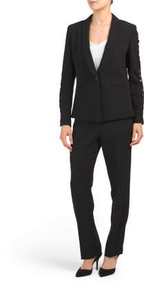Sleeve Cutout Jacket & Pant Suit Set