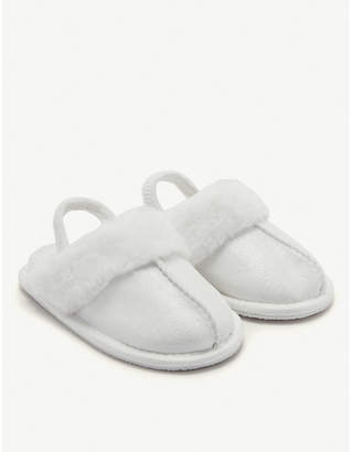 The Little White Company Sparkle faux-fur mule slippers size 1-12