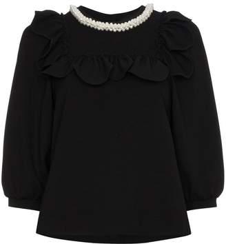 Simone Rocha faux pearl embellished frill bib top
