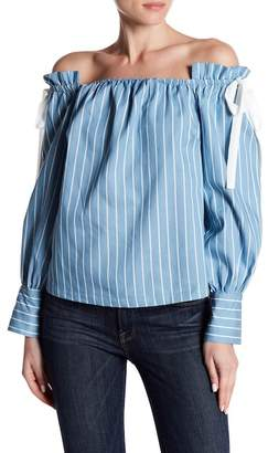 Flying Tomato Off-the-Shoulder Stripe Blouse
