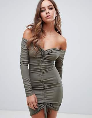 PrettyLittleThing ruched bardot bodycon mini dress in khaki