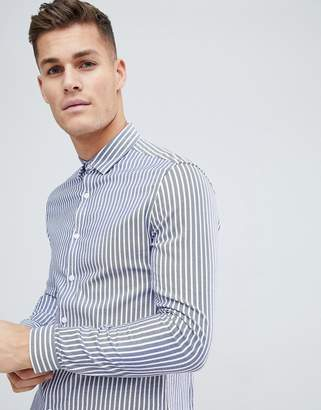 Asos Design Smart Stretch Slim Twill Stripe Shirt