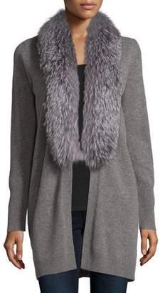 Neiman Marcus Cashmere Collection Cashmere Fox Fur Collar Cardigan $795 thestylecure.com