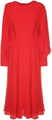 MSGM Buttoned-shoulder Crepe Maxi Dress
