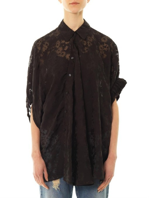 Stella McCartney Rosi daisy-devoré drape shirt