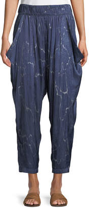 Halston Flowy Seismic-Print Ruched Cropped Pants