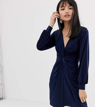 Miss Selfridge Petite twist front dress in navy