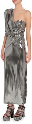 ATTICO The One-Shoulder Metallic Fluid Dress